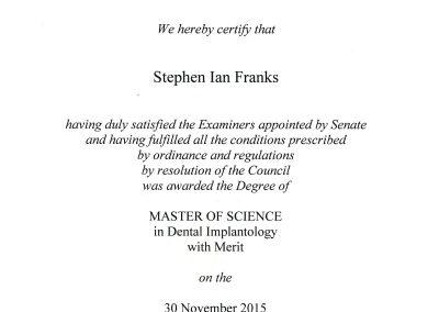 University of Bristol Masters in Dental Implantology