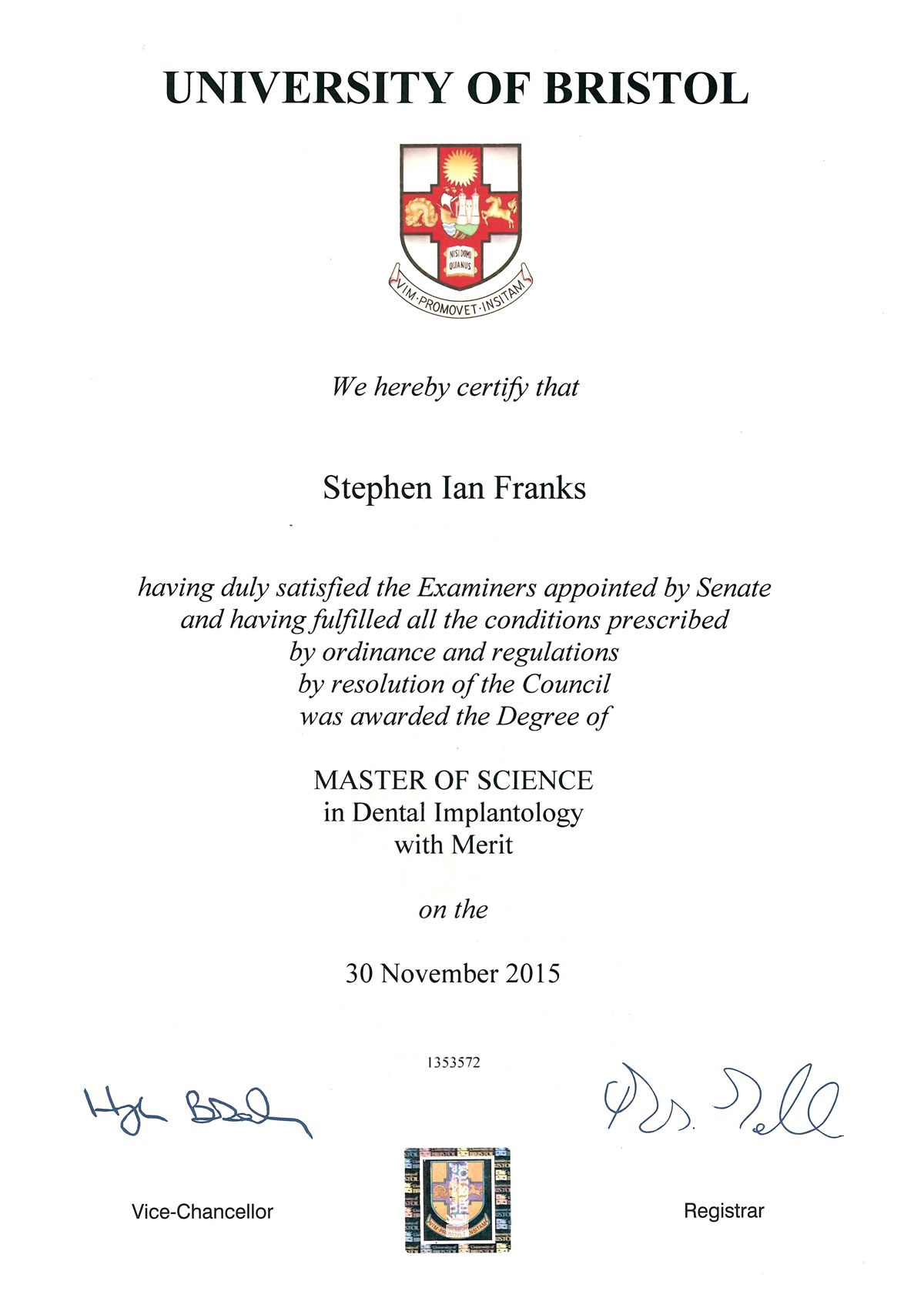 Certificates Stephen Franks
