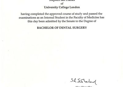 University of London Bachelor of Dental Surgery
